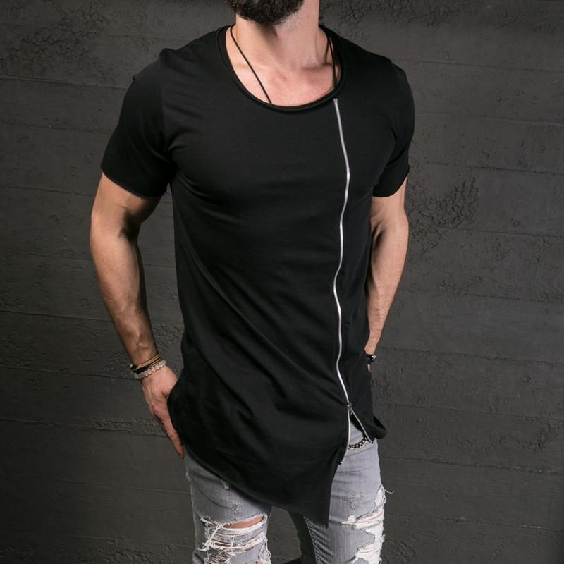 Fashion Diagonal Zip Asymmetric Round Neck T-shirt