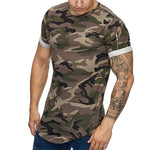 Casual Camo Shoulder Zipper Short Sleeve T Shirt