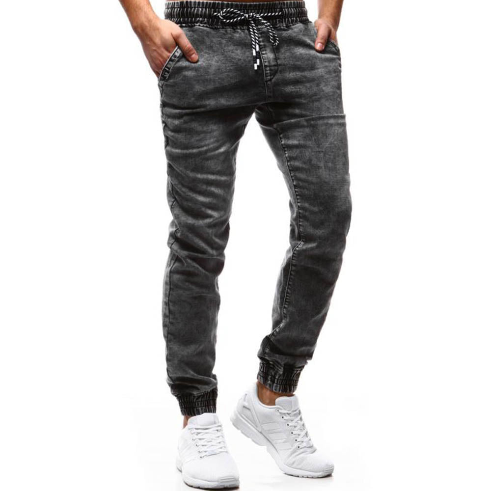 Casual Solid Self-tie Paneled Pockets Foot-binding Jeans