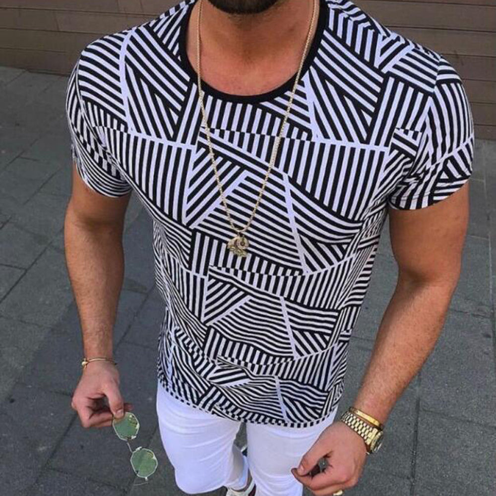 Paneled Striped Paneled Print Casual Short Sleeves T-shirt