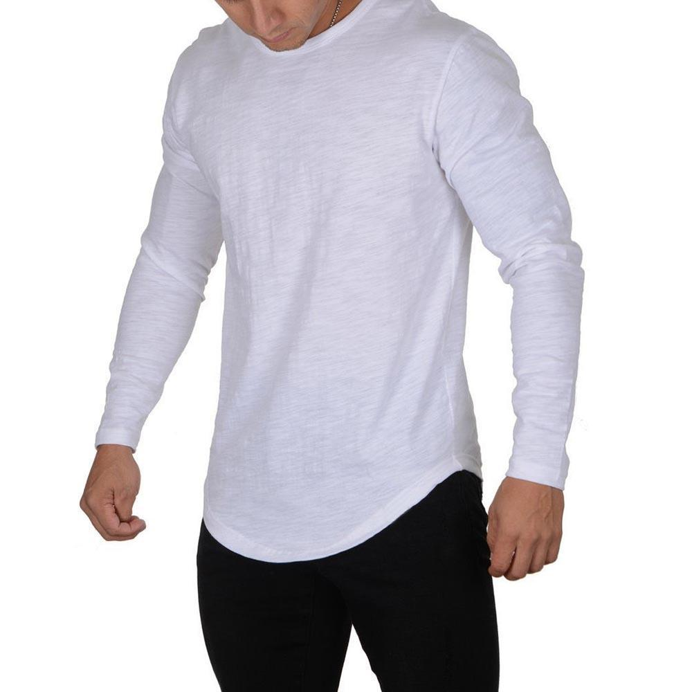 Casual Curved Long Sleeve T Shirt