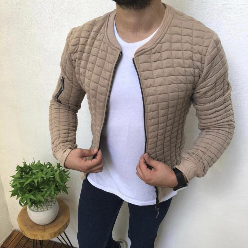 Solid Zipper Stand Neck Flight Jacket