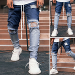 Stylish Gradient Ripped Hole Zipper Jeans