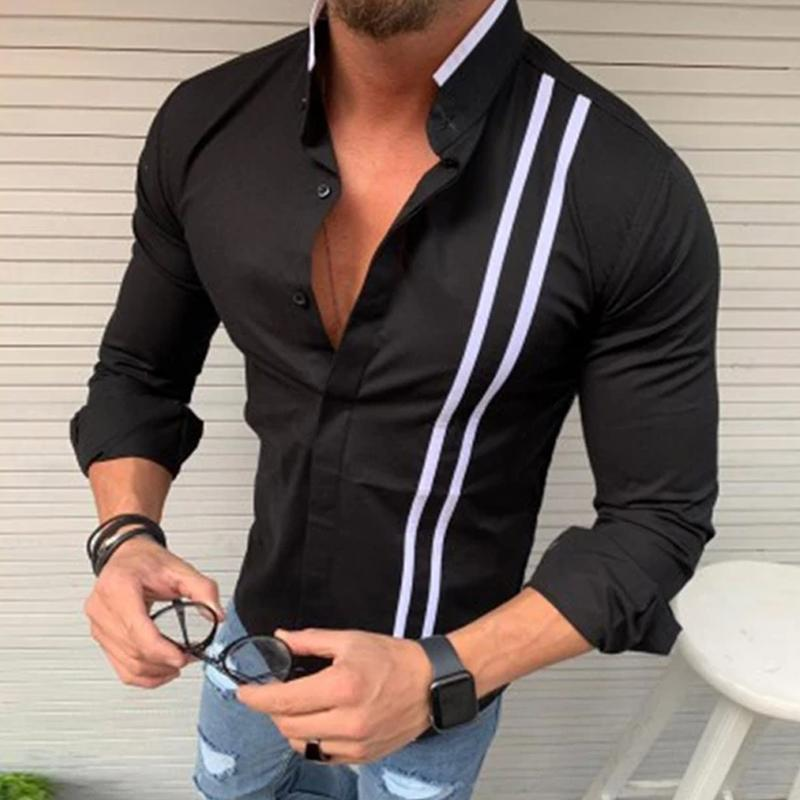 Colorblock Stripe Stand Neck Long Sleeve Shirt