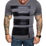 PU Stitching Zipper Short Sleeve T Shirt