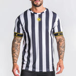 Sports Embroidery Logo Stripe Short Sleeve Tee
