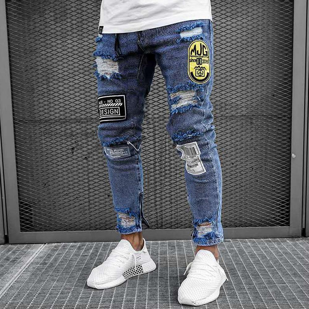 Badge Ripped Holes Zipper Jeans