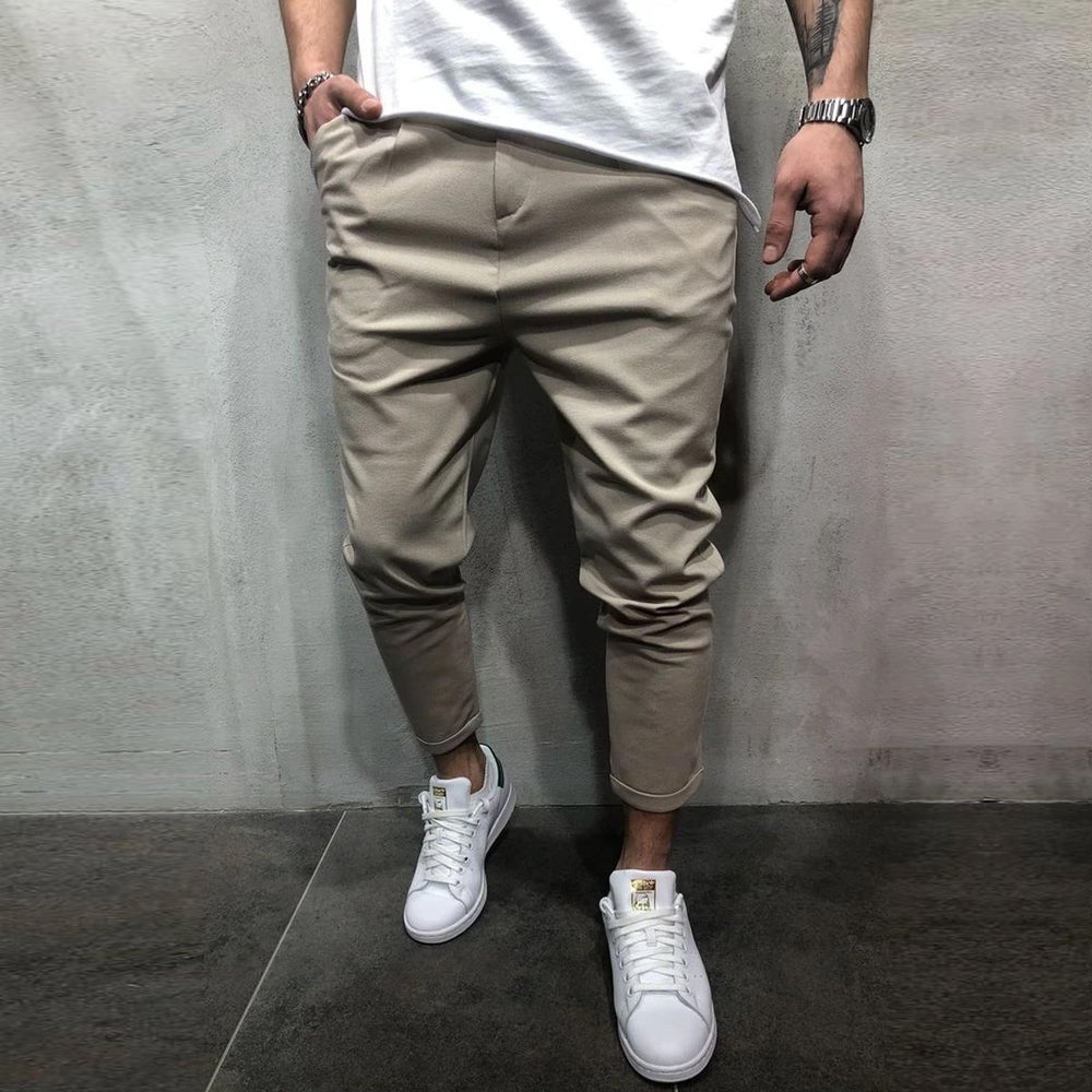 Casual Solid Zipper Fly Skinny Pants