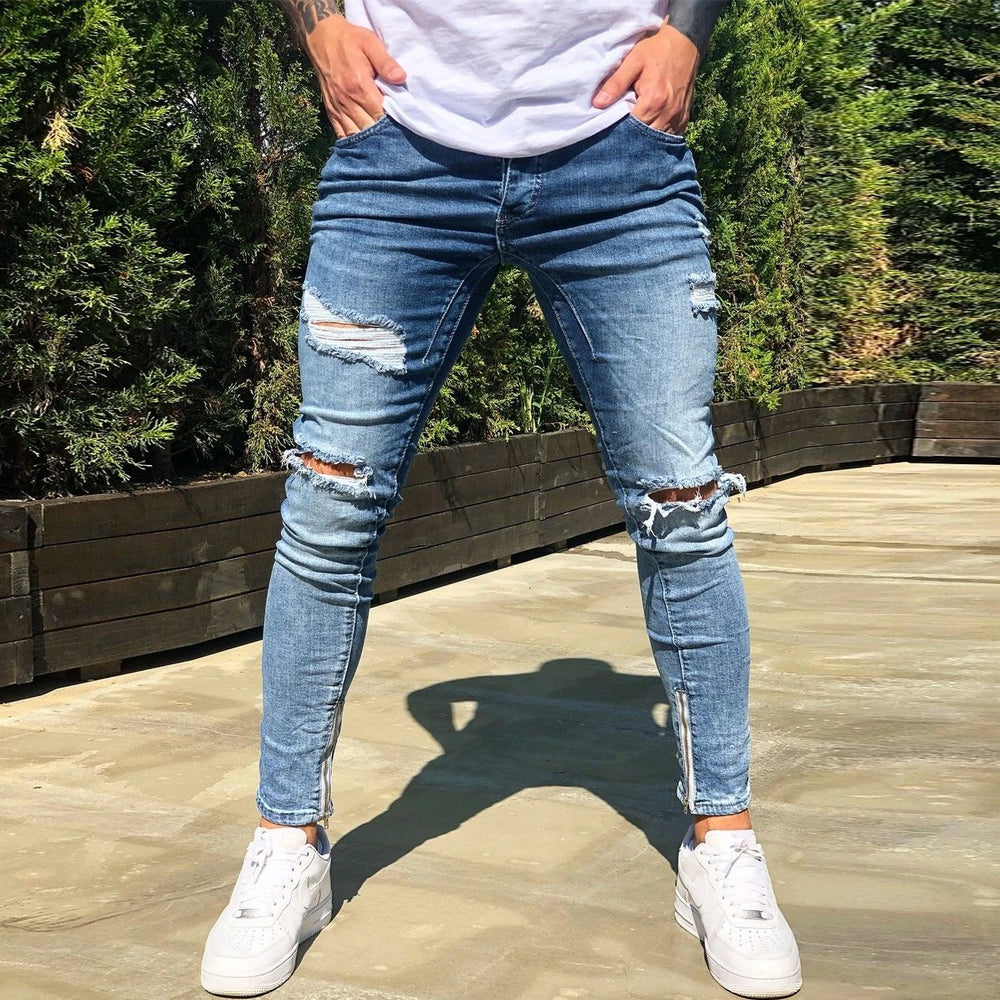 Ripped Holes Zipper Jeans