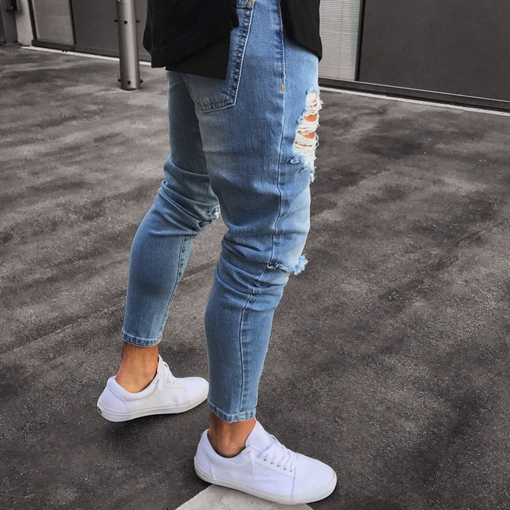 Ripped Holes Zipper Bottom Denim Pants Jeans