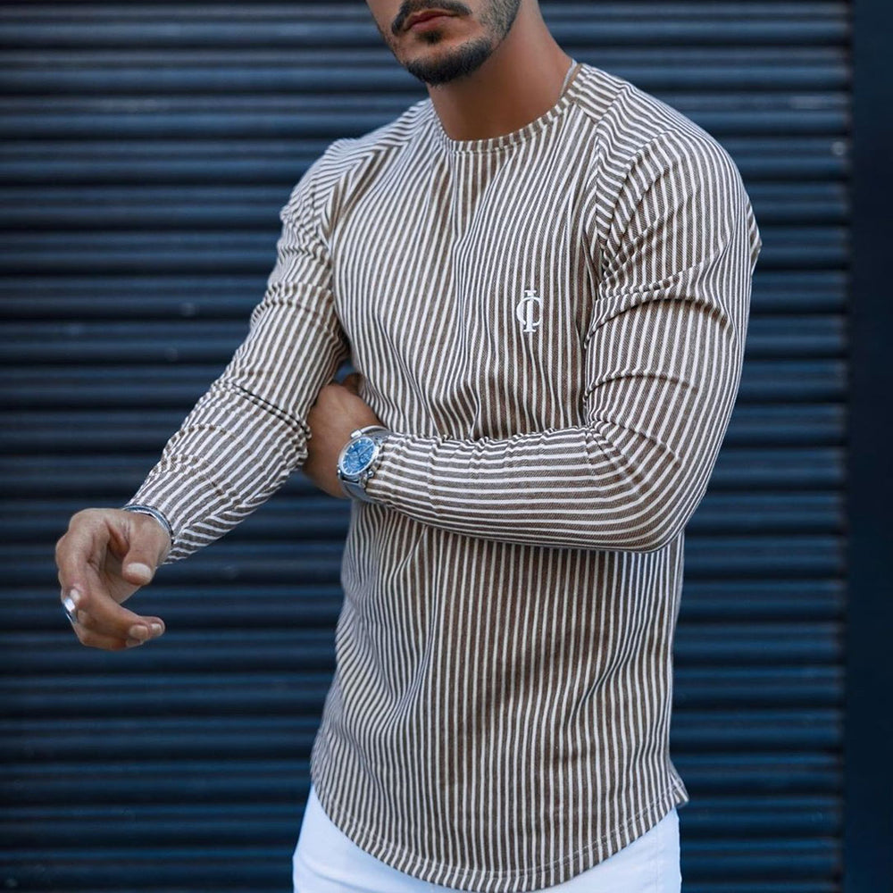 Casual Stripe Printed Long Sleeve Tee T-shirt