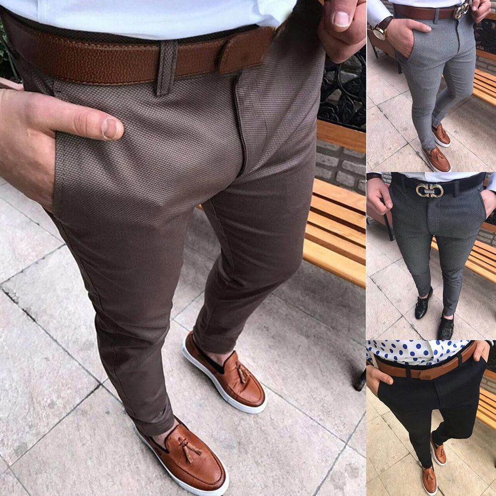 Solid Zipper Fly Casual Pants