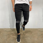 Men Solid Color Black Zip Ripped Skinny Jeans