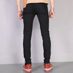 Solid Casual Zipper Tight Jeans