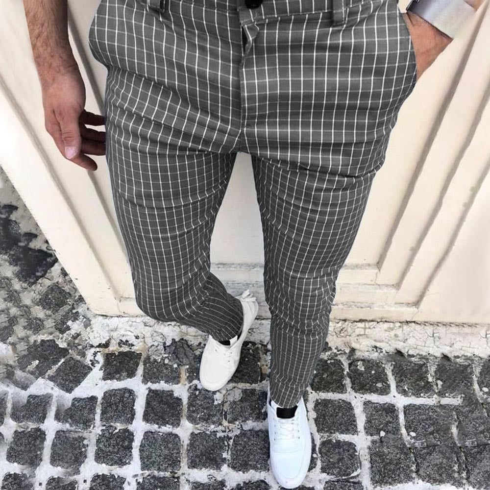 Plaid Print Paneled Side Pockets Casual Pants