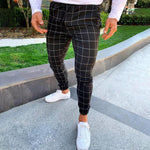 Casual Grid Skinny Pants