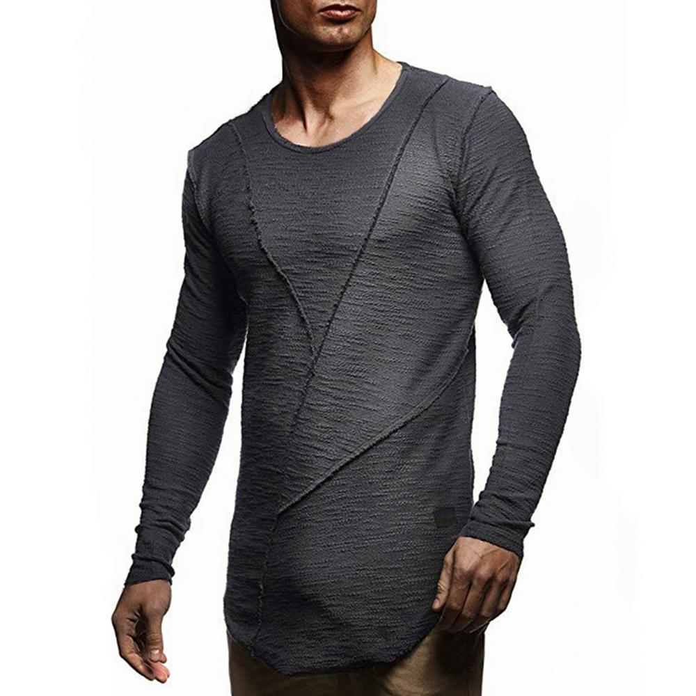 Stitching Curved Long Sleeve T-shirt