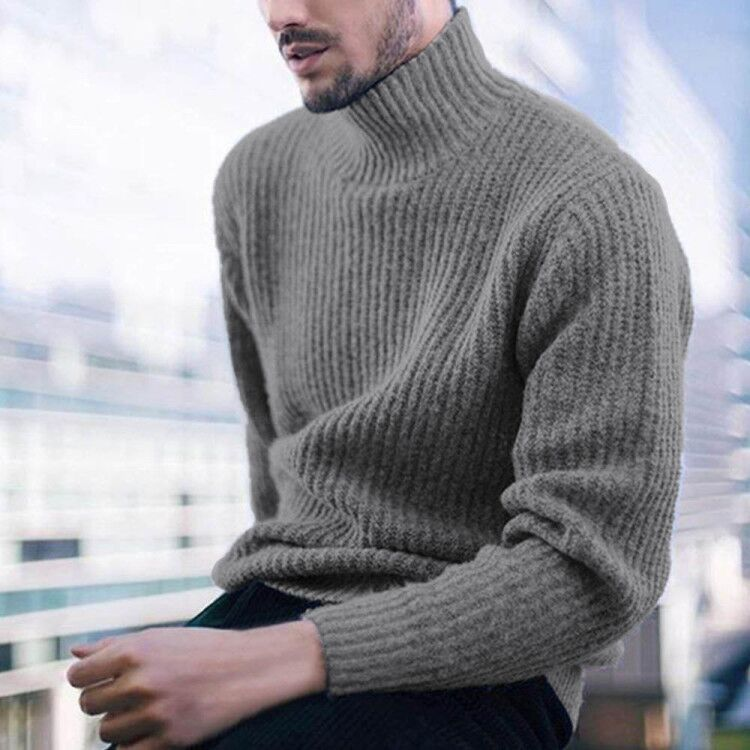 Turtleneck Solid Knitted Ribbed Casual Sweater