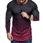 Gradient Round Neck Long Sleeve Sports Gym T-shirt