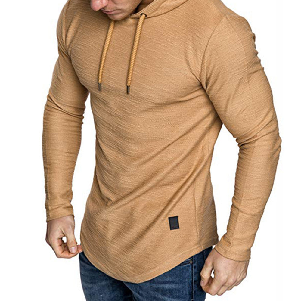 Solid Casual Paneled Drawstring Curved Hem Hoodie