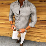 Vertical Stripe Long Sleeve Casual Shirts