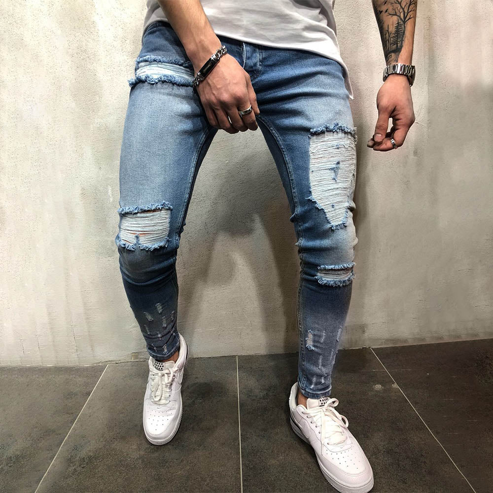 Street Solid Paneled Cutout Men Jeans