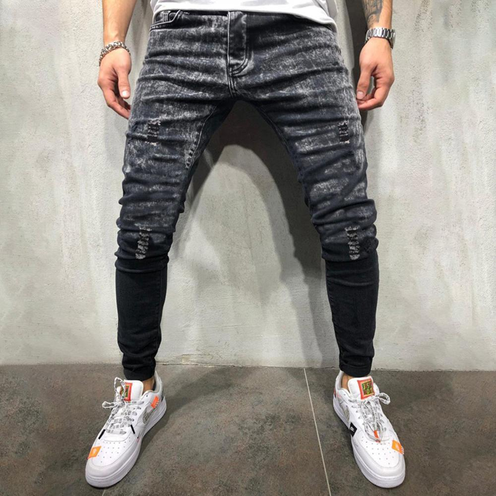Gradient Snow Wash Ripped Holes Jeans