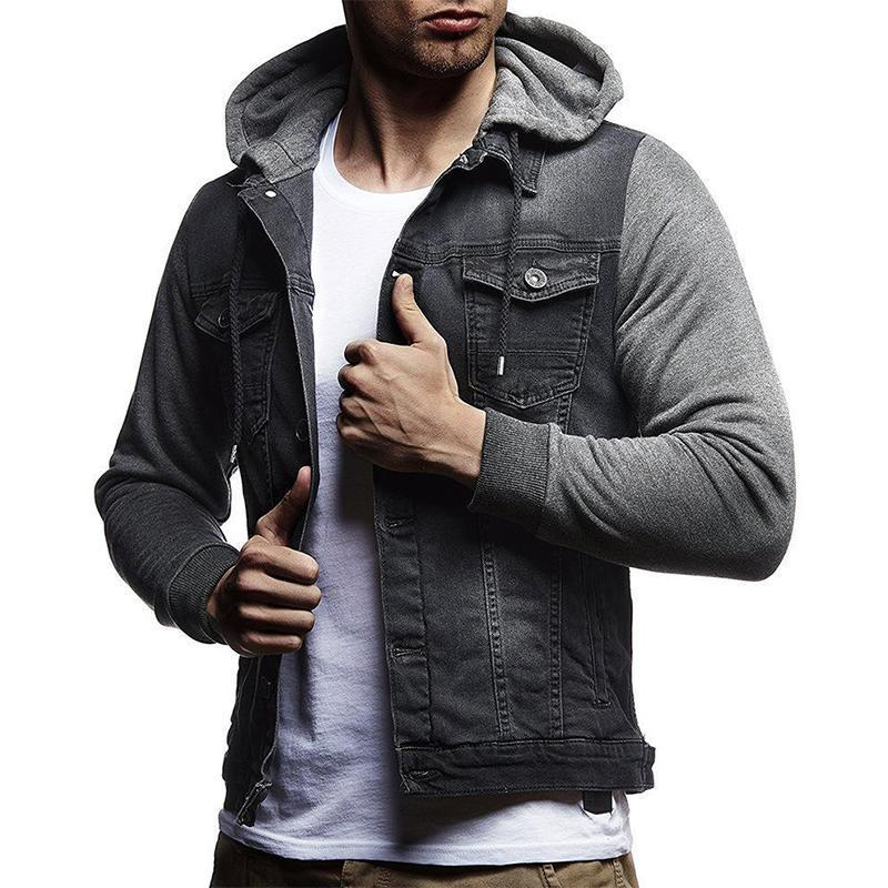 Fashion Stitching Denim Hooded Jacket