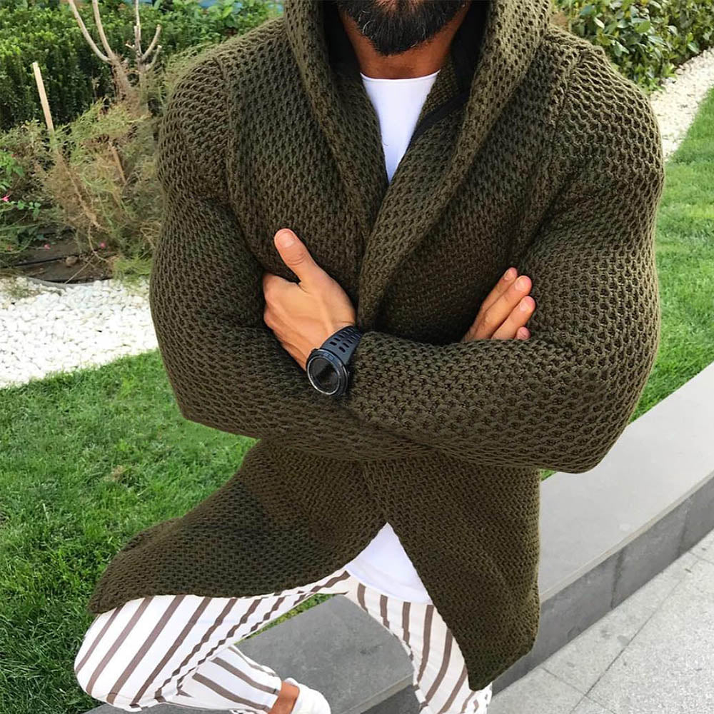 Solid Knitted Ribbed Paneled Casual Hooded Cardigan