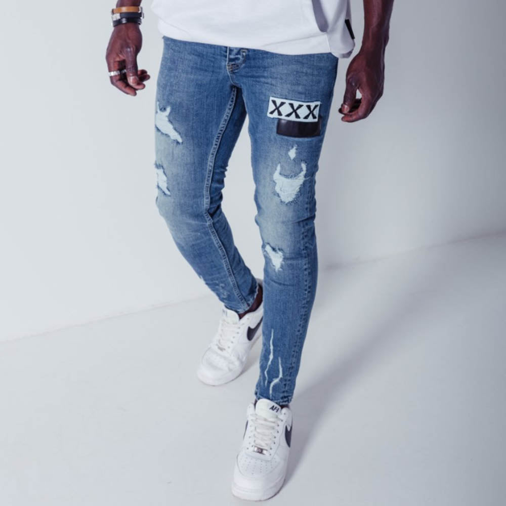 Letter Appliqued Paneled Cutout Street Fashion Jeans