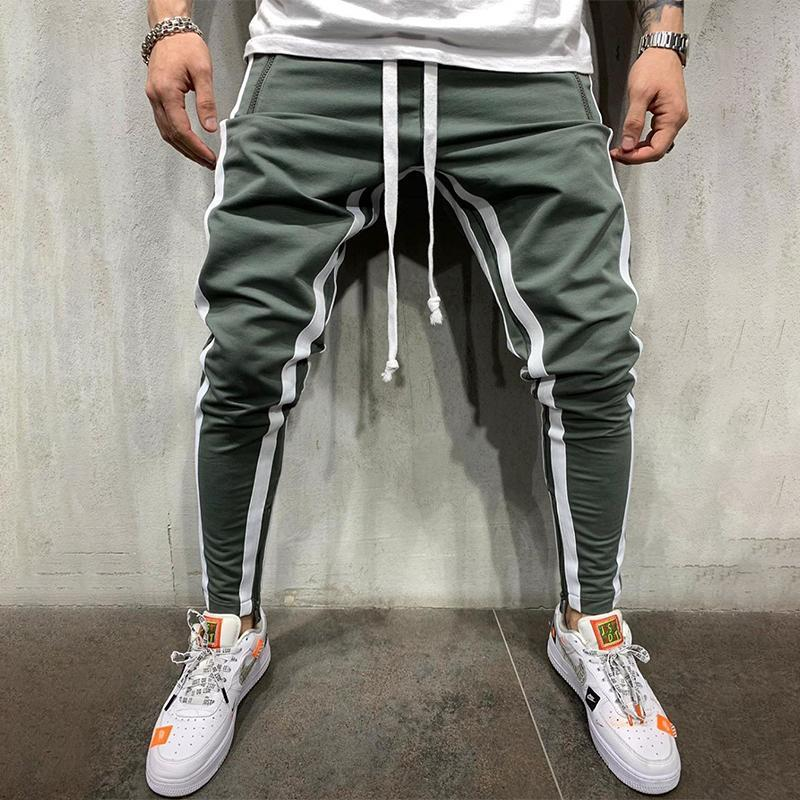 Sports Colorblock Stripe Stitching Drawstring Waist Pants