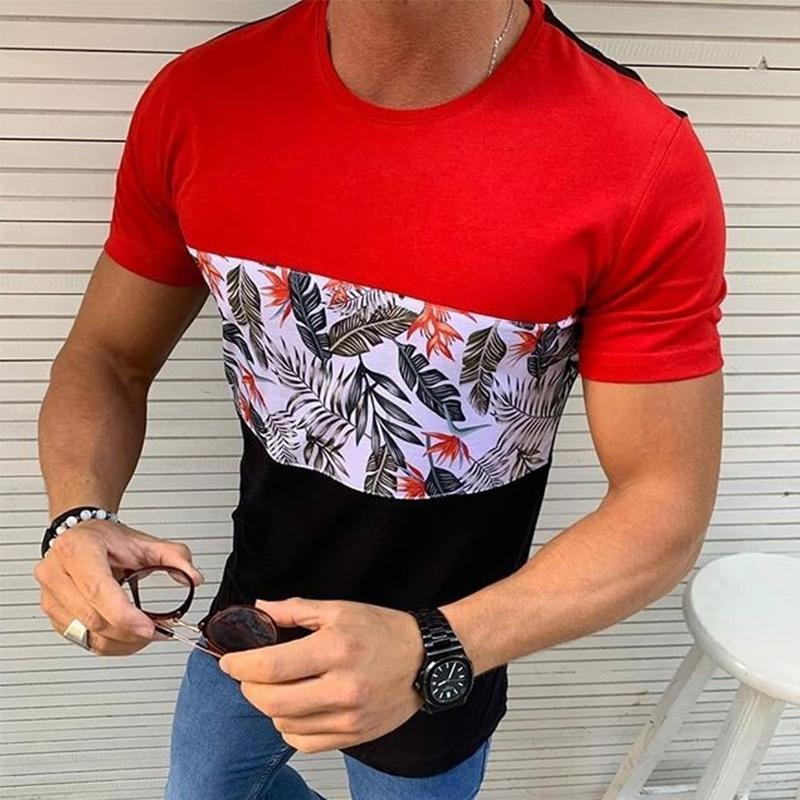 Colorblock Paneled Leaf Printed Casual T-shirt