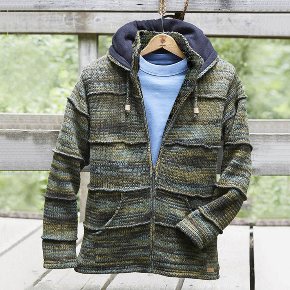 Vintage Striped Embossed Gradient Jacquard Zipper Front Hooded Knitted Men Cardigan