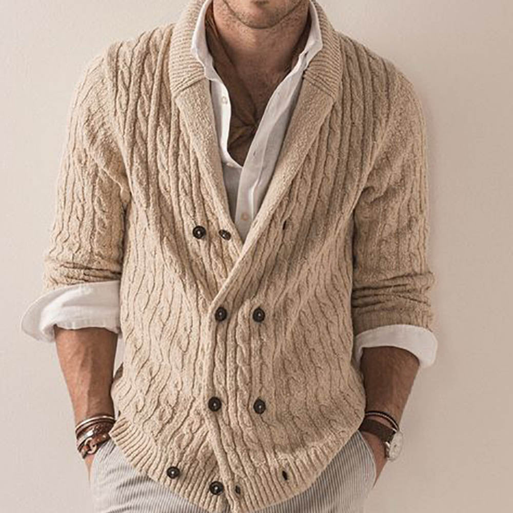 Knitted Ribbed Tweed Buttons Down Lapel Collar Daily Cardigan