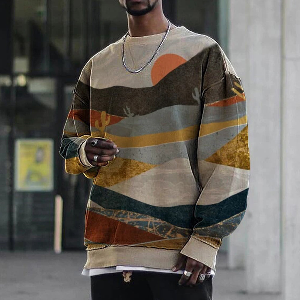 Casual Landscape Print Round Neck Long Sleeve Sweatshirt