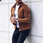 Fashion Solid Suede Turn Down Neck Jackets
