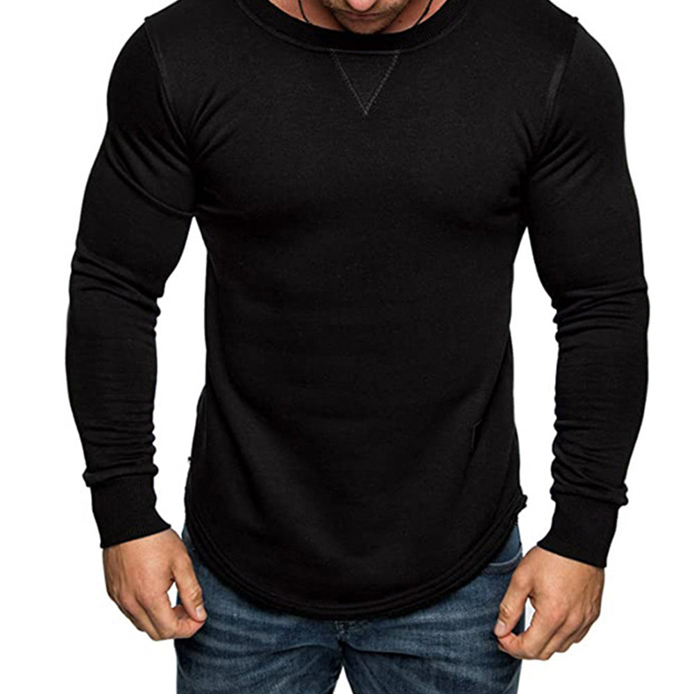 Solid color Round Neck Long Sleeve T-Shirt