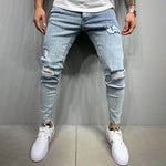 Men Light Blue Solid Cutout Daily Street Cutout Pockets Jeans