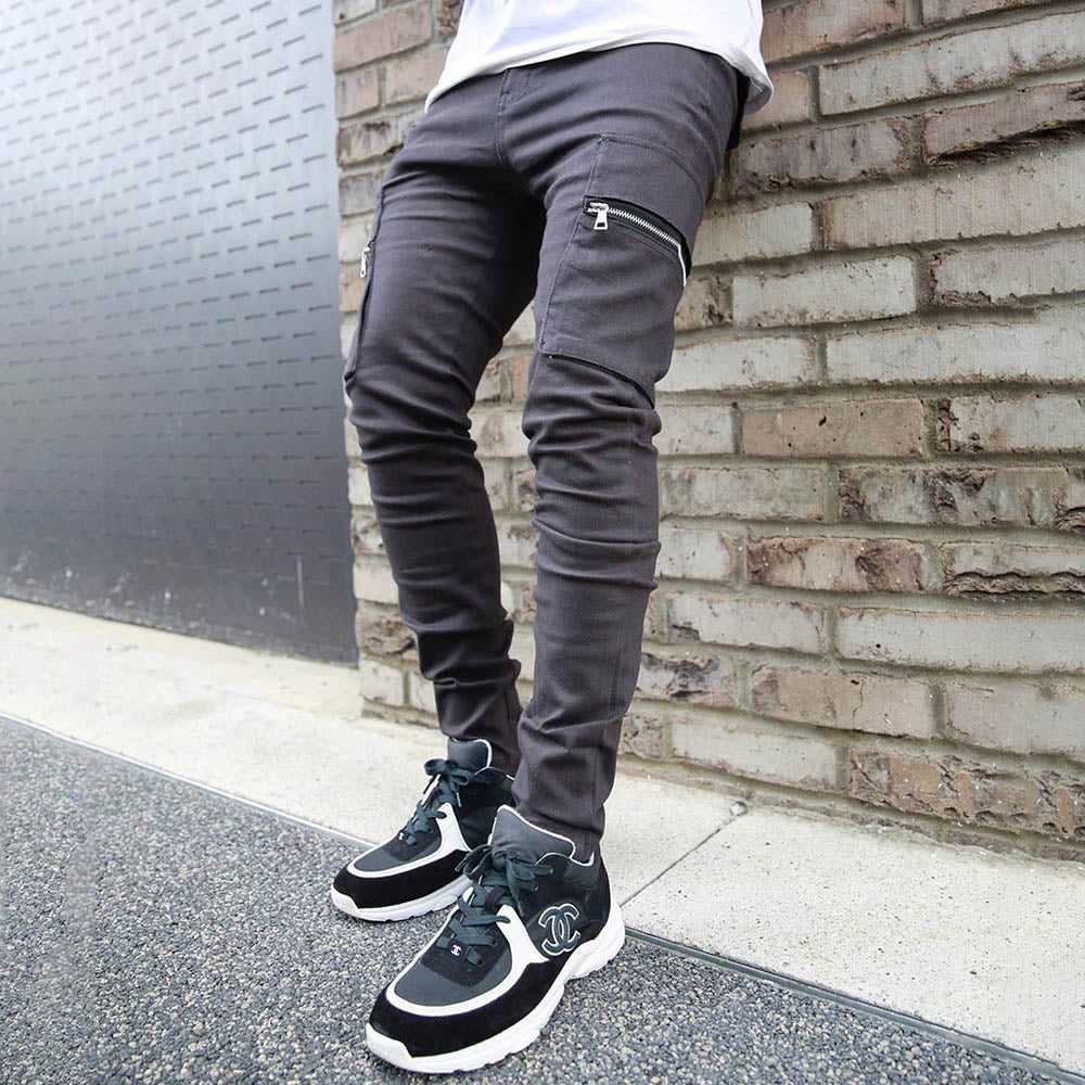 Solid Paneled Self-tie Side Zipper Pockets Foot-binding Casual Pants