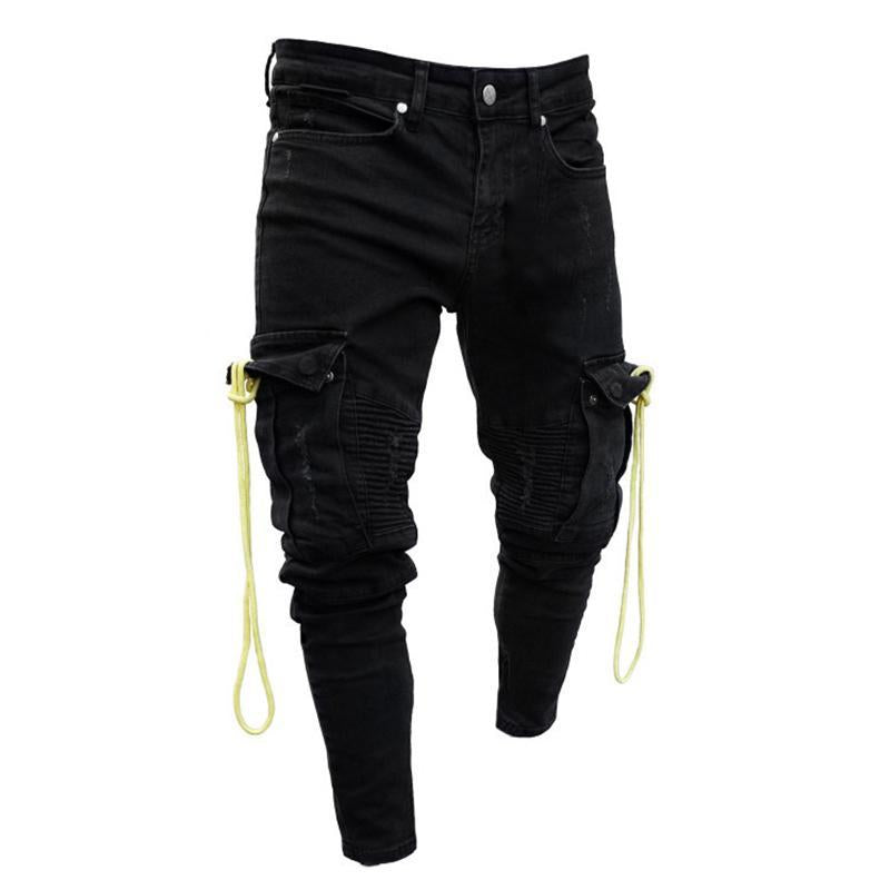 Rope Decor Shirred Skinny Jeans