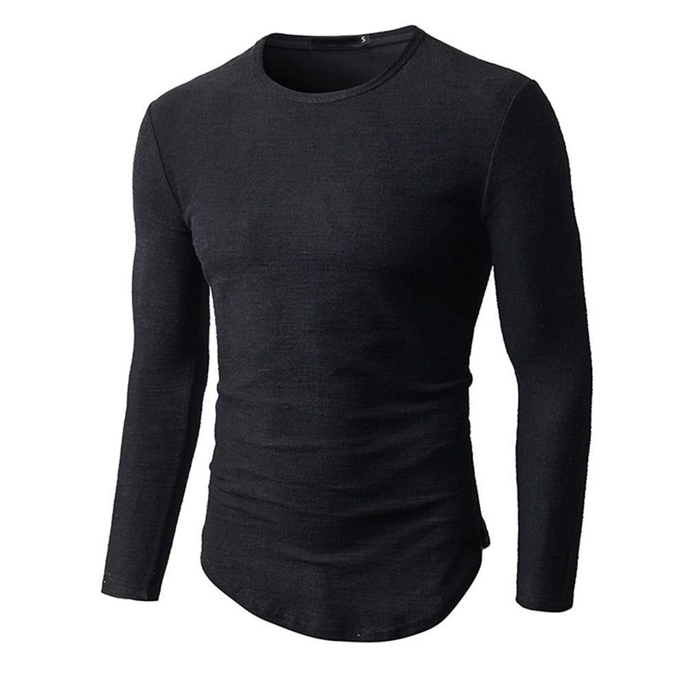 Solid Curved Hem Long Sleeve T-shirt