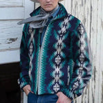 Ethnic AZTEC Gradient Jacquard Zipper Front Lapel Collar Side Pockets Men Jacket Coat