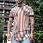 Sports Embroidery Logo Stripe Short Sleeve Fast Dry Tee