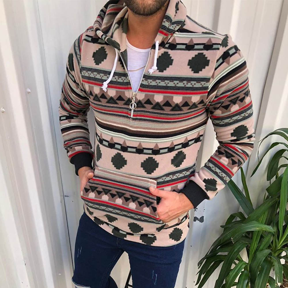 Men Vintage Geometric Striped Jacquard Zipper Front Drawstring Hoodie