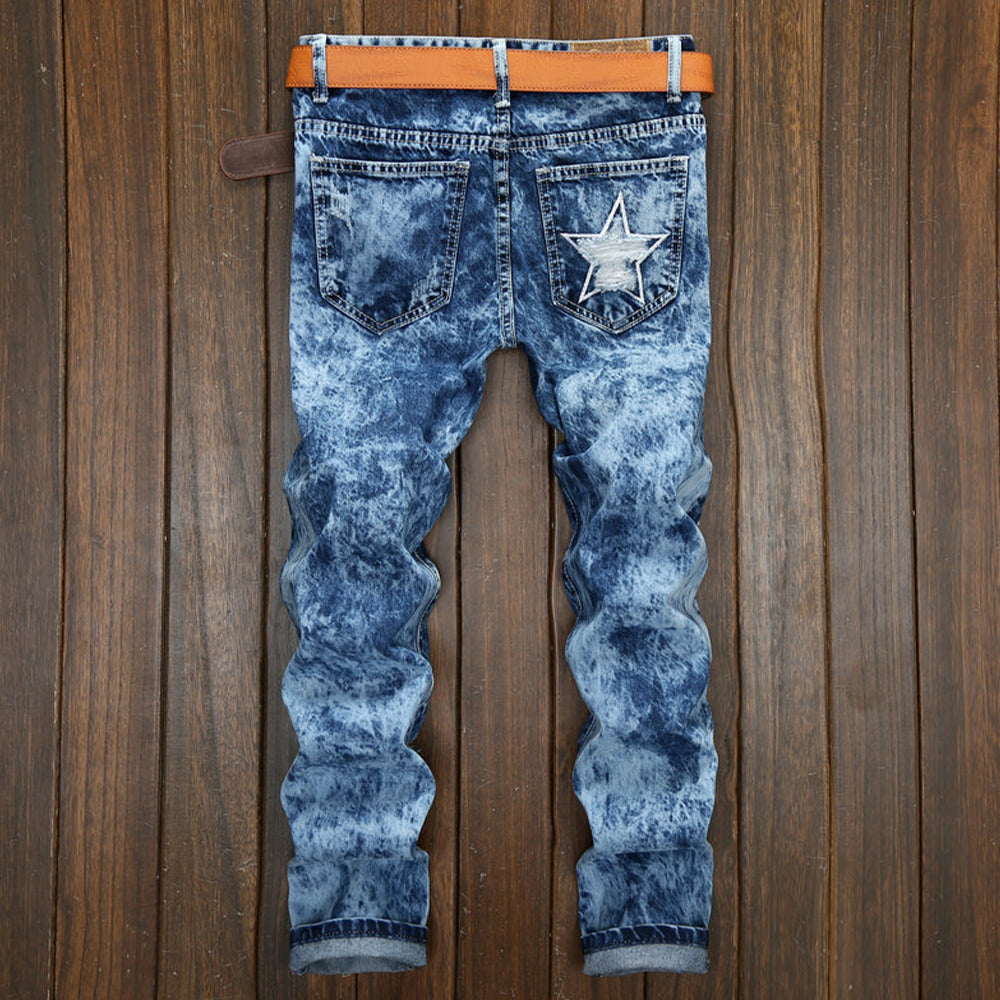 Gradient Graphic Appliqued Cutout Casual Jeans
