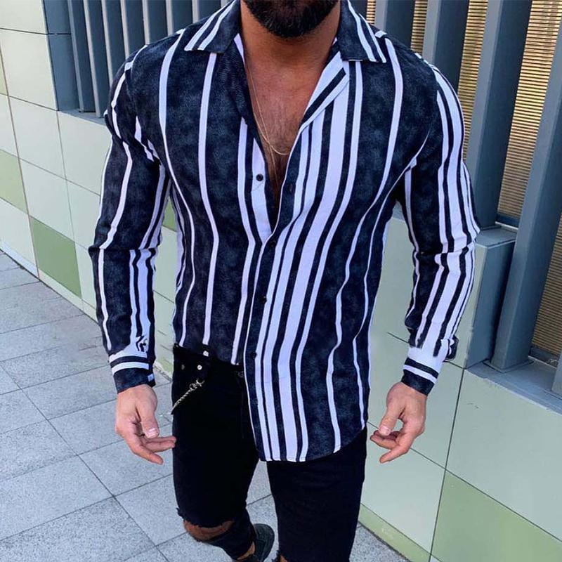 Irregular Vertical Stripe Long Sleeve Shirt
