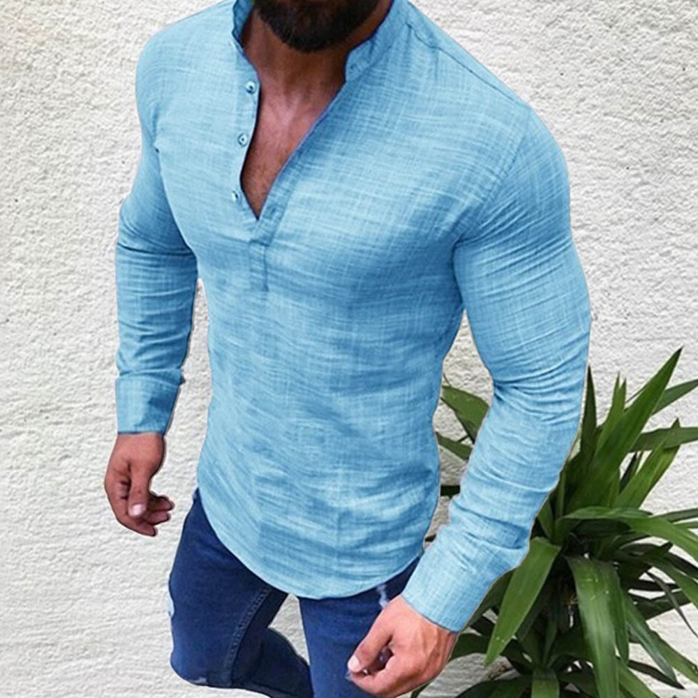 Solid Paneled Buttoned Stand Collar Long Sleeves Casual Shirt