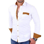 Temperament Solid Buttons Down Pocket Front Color Block Collar Shirt