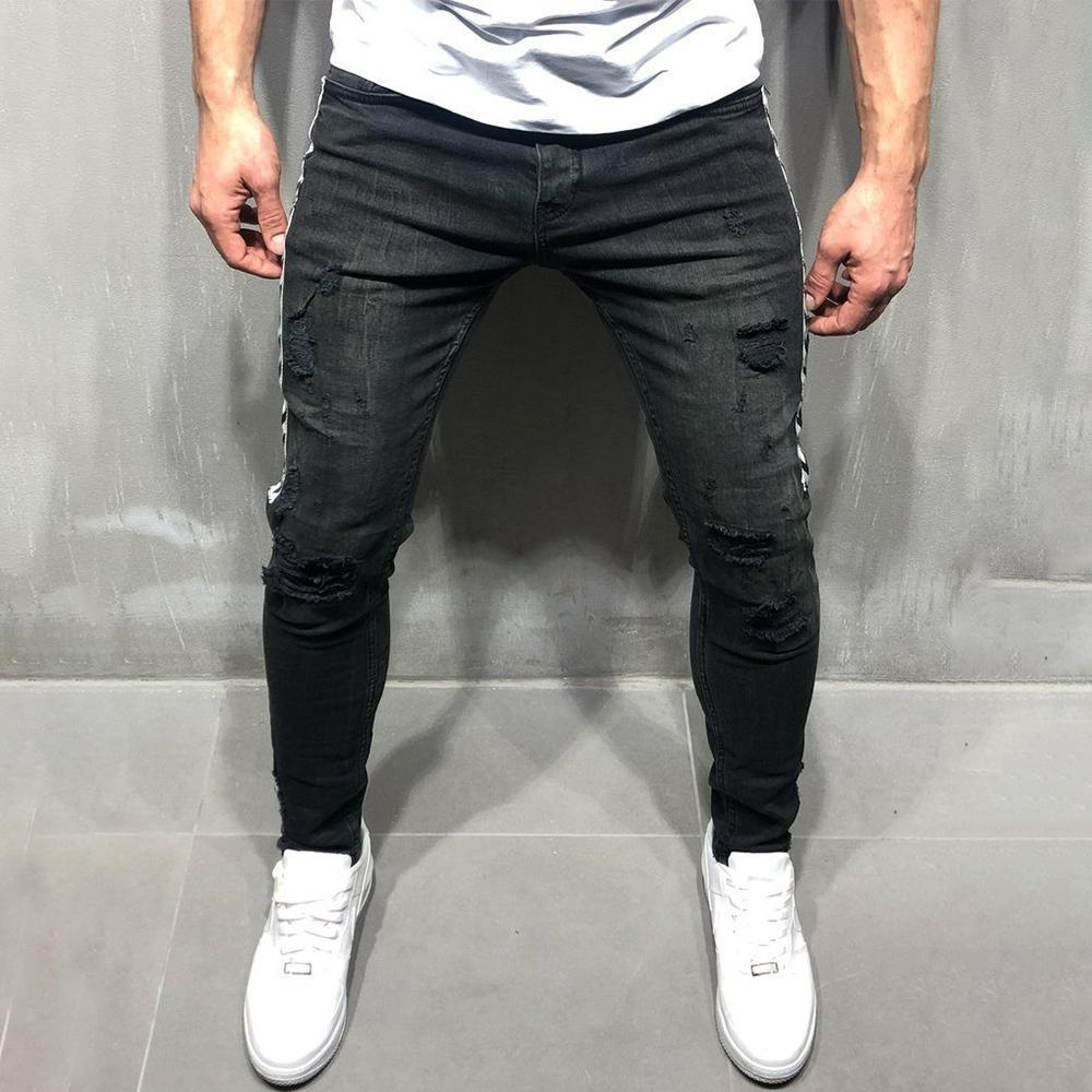 Casual Ripped Holes Side Stitching Jeans