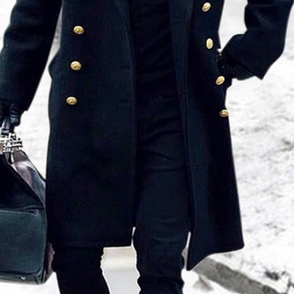 Holiday Solid Buttoned Pockets Lapel Collar Long Coat